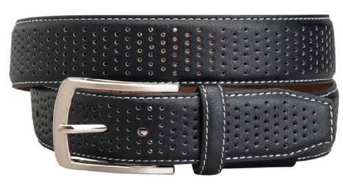 Greg Norman Perforated Leather Golf Belt - Black