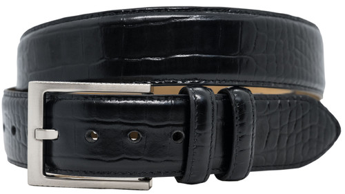 Greg Norman Crocodile Print 38mm Wide Leather Belt - Black