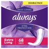 Always Xtra Protection Extra Long Liners, 68 ct, 4 PACKS, 1 CASE