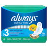 Always Ultra Thin Extra Long Super With Wings, 14 ct, 6 PACKS, 1 CASE