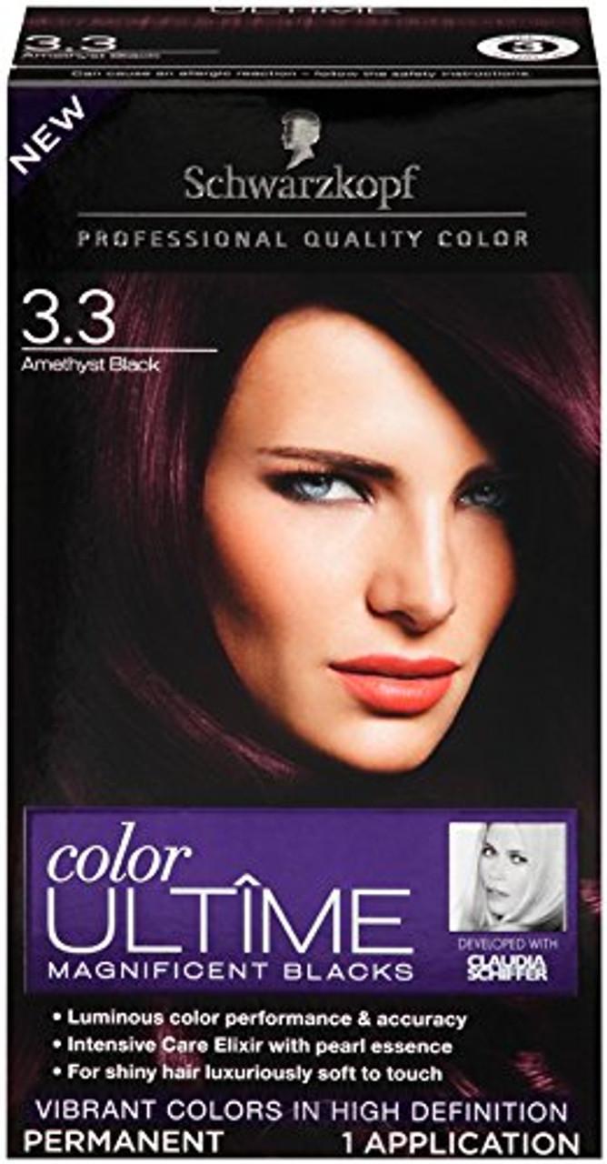 ee8d3635f8 Schwarzkopf Color Ultime Magnificent Blacks Permanent Hair Color Kit, 3.3  Amethyst Black