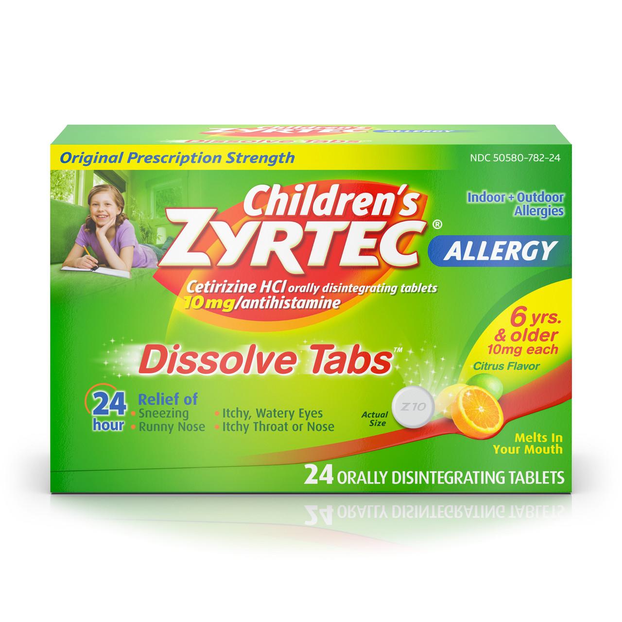 Zyrtec Children's 24-HR Allergy Relief 10 mg Dissolve Tabs, Citrus, 24 ct