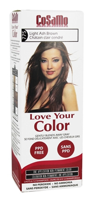 Cosamo Love Your Color Hair Color,  #775 Light Ash Brown (Comparable To Loving Care)