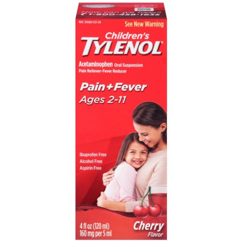 Children's Tylenol Oral Suspension Pain Reliever + Fever Reducer Liquid, Cherry, 4 oz