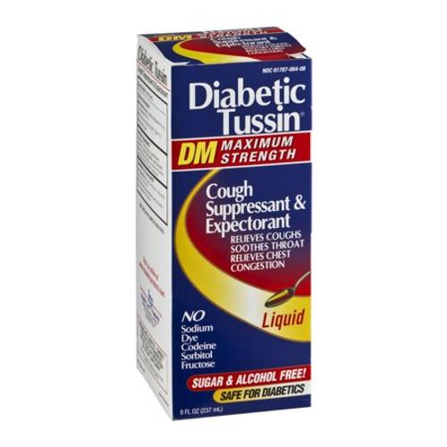Diabetic Tussin DM Maximam Strength Cough Suppressant & Expectorant Sugar & Alcohol Free Liquid, 8 oz