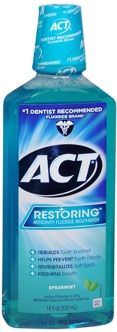 ACT Restoring Anticavity Fluoride Mouthwash, Spearmint, 18 oz, 1 Ea