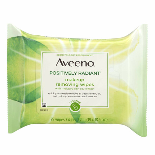 Aveeno  Positively Radiant Make-up removing Wipes, 25 ct