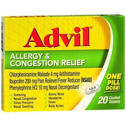 Advil Allergy & Congestion Relief Tablets, 20 ct