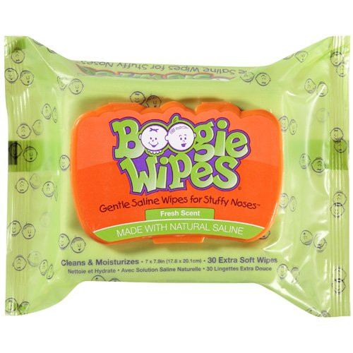 Boogie Wipes Saline Nose Wipes, Fresh Scent, 30 ct