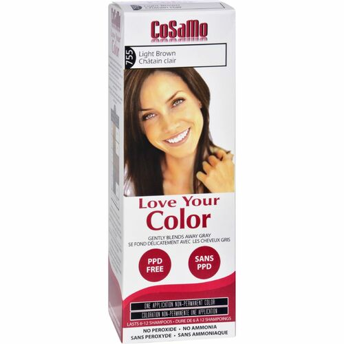 Cosamo Love Your Color Hair Color, #755 Light Brown (Comparable To Loving Care), 1 Ea