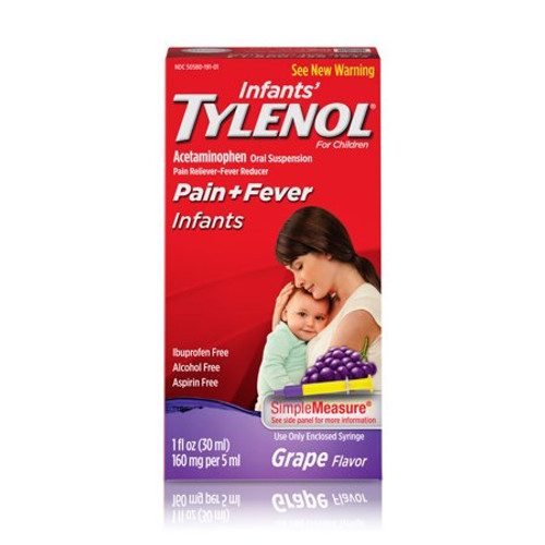 Tylenol Infants Oral Suspension Pain Reliever + Fever Reducer Liquid, Grape, 1 oz