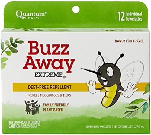 Buzz Away Extreme Natural Insect Repellent Individual Towelettes, 12 ct
