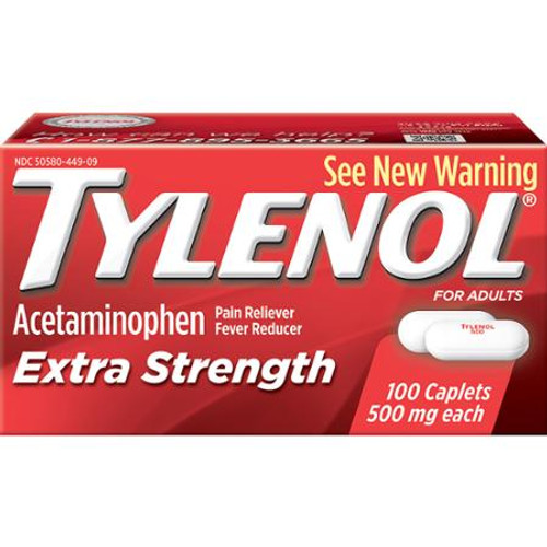 Tylenol Extra Strength Pain Reliever + Fever Reduce Caplets, 100 ct