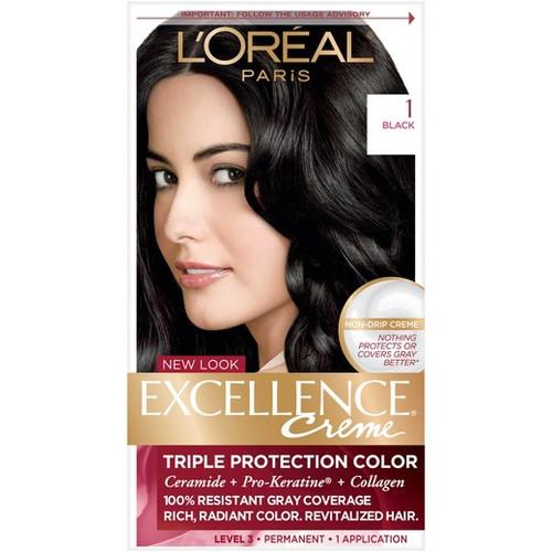 L'Oreal Paris Excellence Creme Triple Protection Color Permanent Haircolor Kit, 1 Black