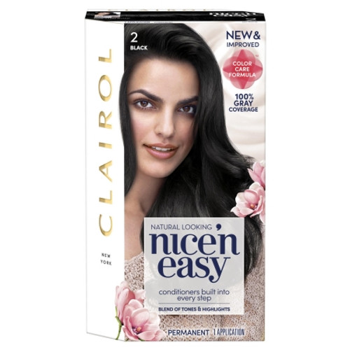 Clairol Nice 'N Easy Permanent Hair Color Kit, 2 Black