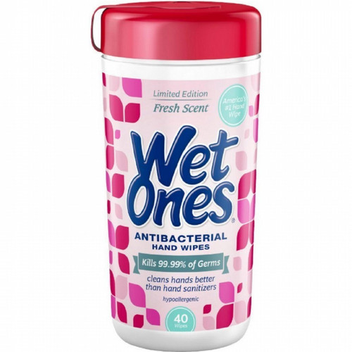 Wet Ones Antibacterial Moist Towelettes Wipes Canister, Fresh Scent, Design May Vary, 40 Ct