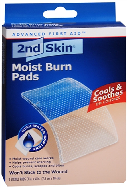 2ND Skin Moist Burn Pads, cools & Soothes, Large 3 in x 4 in, 3 ct, 1 Ea