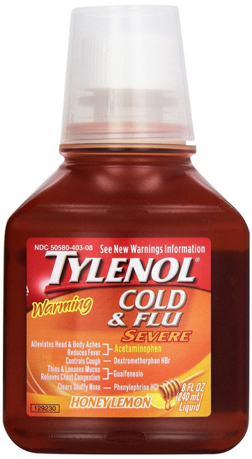 Tylenol Warming Cold & Flu Severe Pain Reliever + Fever Reducer Liquid, Honey Lemon, 8 oz
