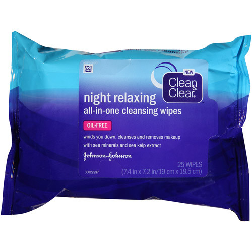 Clean & Clear Night Relaxing All-In-One Cleansing Wipes, 25 ct
