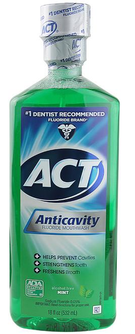 ACT Alcohol Free Anticavity Fluoride Rinse, Mint, 18 oz, 1 Ea