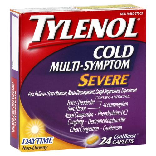 Tylenol Cold Multi-Symptom Severe Daytime Pain Reliever + Fever Reduce Caplets, 24 ct