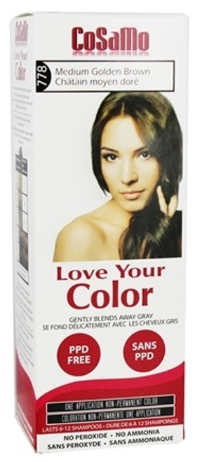 Cosamo Love Your Color Hair Color, #778 Medium Golden Brown (Comparable To Loving Care), 1 Ea
