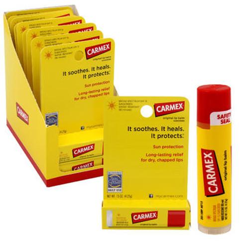 Carmex Protecting Lip Balm Stick SPF 15, Original, 0.15 oz, 12 ct, 1 CASE