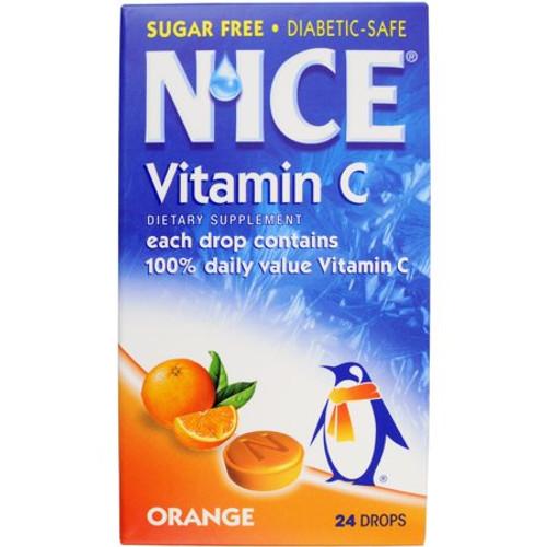 N'Ice Throat & Cough Vitamin-C Sugar Free Drops, Orange, 24 ct