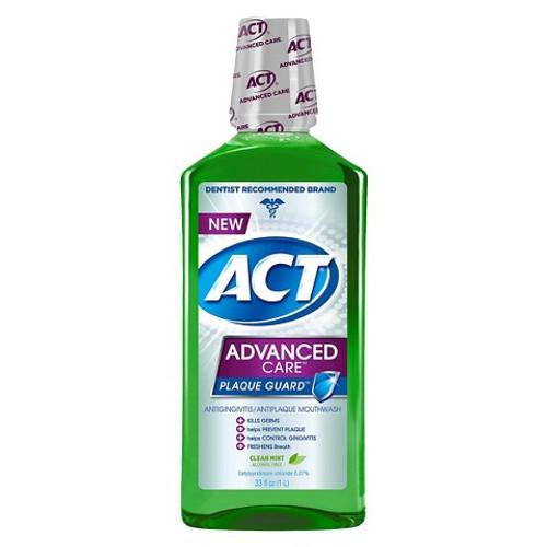 ACT Advanced Care Plaque Guard Antigingivitis & AntiPlaque Mouthwash, Clean Mint, 33.8 oz, 1 Ea
