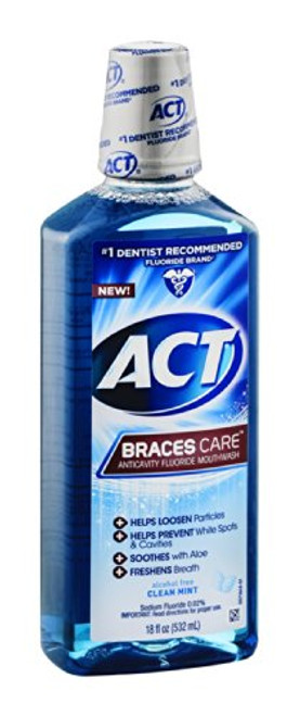 ACT Braces Care Anticavity Fluoride Mouthwash, Clean Mint, 18 oz, 1 Ea