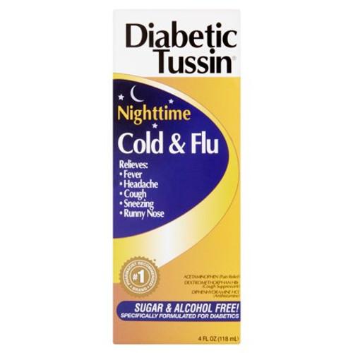 Diabetic Tussin Cold & Flu Nighttime, Sugar & Alcohol Free Liquid, 4 oz