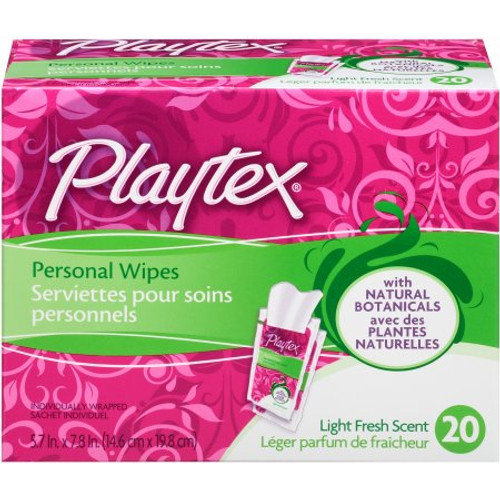 Playtex On-The-Go Personal Cleansing Cloths Singles, Light Fresh Scent, 20 ct