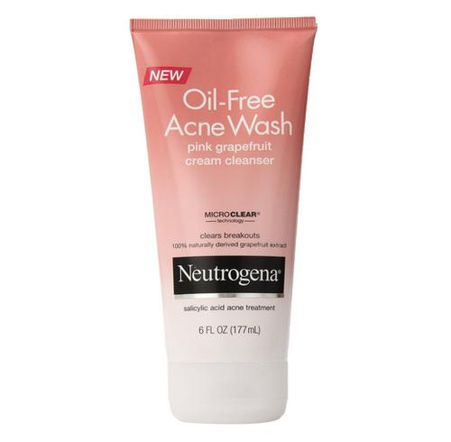 Neutrogena Oil-Free Acne Wash Pink Grapefruit Cream Cleanser, 6 oz