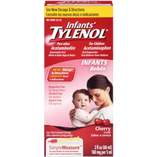 Tylenol Infants Oral Suspension Pain Reliever + Fever Reducer Liquid, Cherry, 2 oz