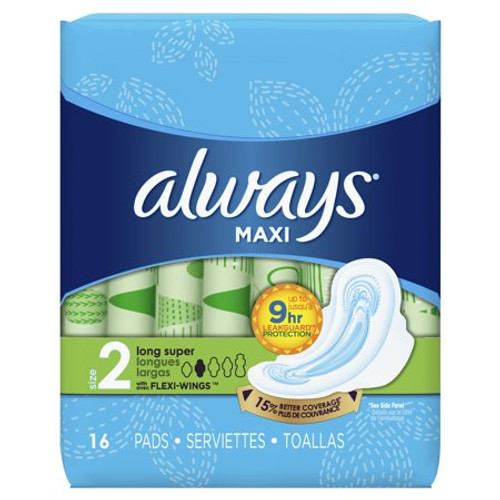 Always Maxi Long Super Pads with Wings, 16 ct, 12 PACKS, 1 CASE