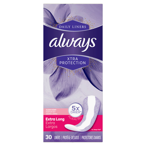Always Xtra Protection Extra Long Pantiliners, 30 ct, 12 PACKS, 1 CASE