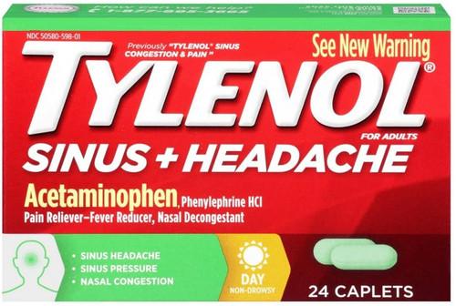 Tylenol Sinus + Headache Pain Reliever + Fever Reducer Caplets, 24 ct