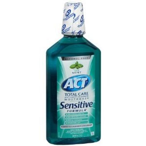 ACT Total Care Alcohol Free Anticavity Fluoride Mouthwash Sensitive, Mint, 33.8 oz, 1 Ea