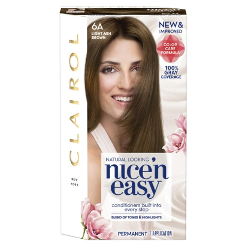 Clairol Nice 'N Easy Permanent Hair Color Kit, 6A Light Ash Brown