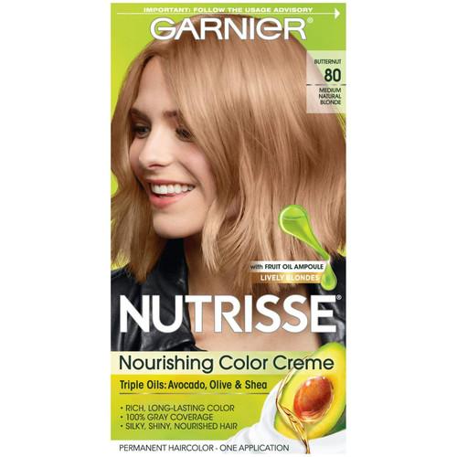 Garnier Nutrisse Nourishing Color Creme Permanent Haircolor Kit, 80 Medium Natural Blonde