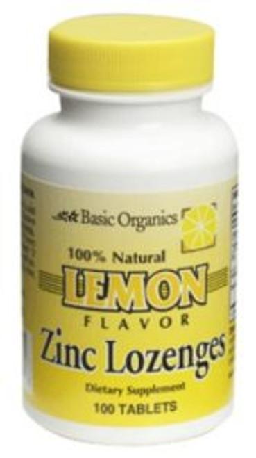 Basic Organics Zinc Lozengers, Lemon, 100 ct
