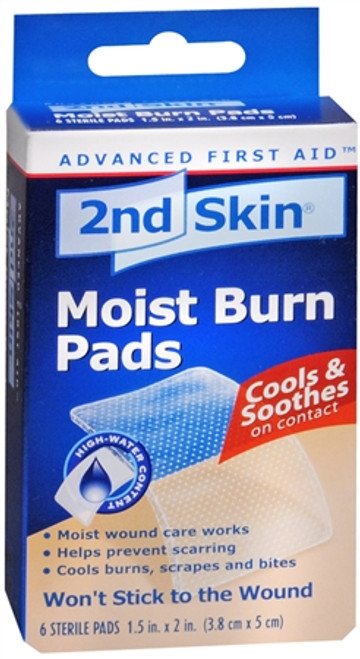 2ND Skin Moist Burn Pads, cools & Soothes, Small 1.5 in x 2 in, 6 ct, 1 Ea