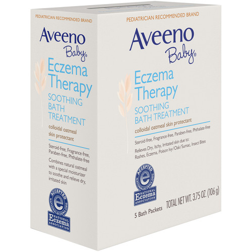 Aveeno Baby Eczema Soothing Bath Treatment Packets, Fragrance Free, 5 ct
