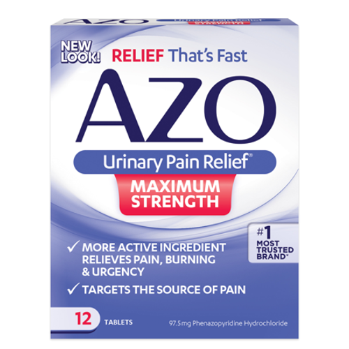 AZO Maximum Strength Urinary Pain Relief Tablets, 12 ct