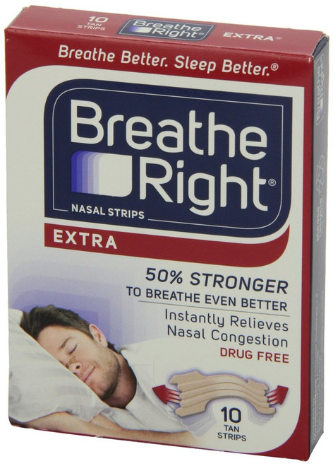 Breathe Right Tan Nasal Strips, Extra, 10 ct, 1 Ea