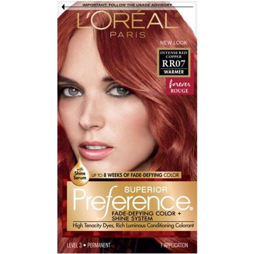 L'Oreal Paris Superior Preference Fade Defying Color & Shine System Permanent Haircolor, RR07 Intense Red Copper