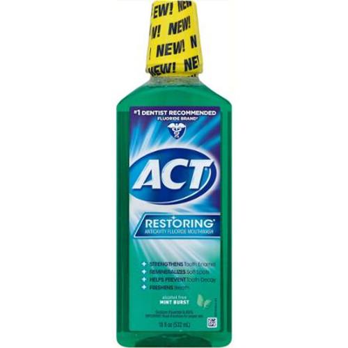 ACT Restoring Anticavity Fluoride Mouthwash, Mint Burst, 18 oz, 1 Ea