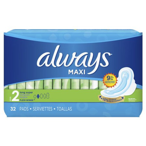 Always Maxi Long Super Pads with Wings, 32 ct, 6 PACKS, 1 CASE
