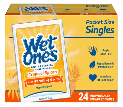 Wet Ones Antibacterial Moist Towelettes Wipes Singles, Tropical Splash, 24 Ct