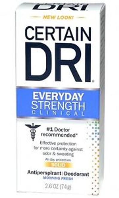 Certain Dri Everyday Strength Clinical Solid Antiperspirant & Deodorant, Morning Fresh, 2.6 oz, 1 Ea